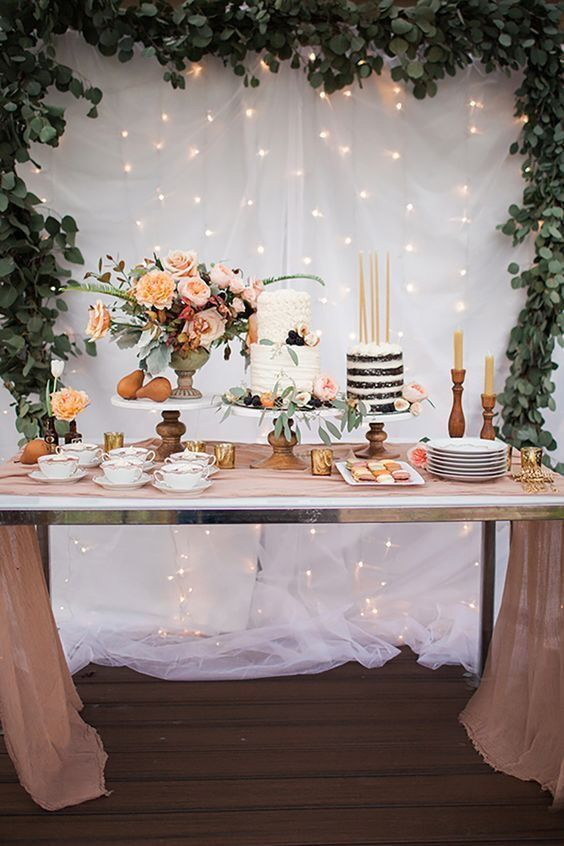 eucalyptus Cake table décor