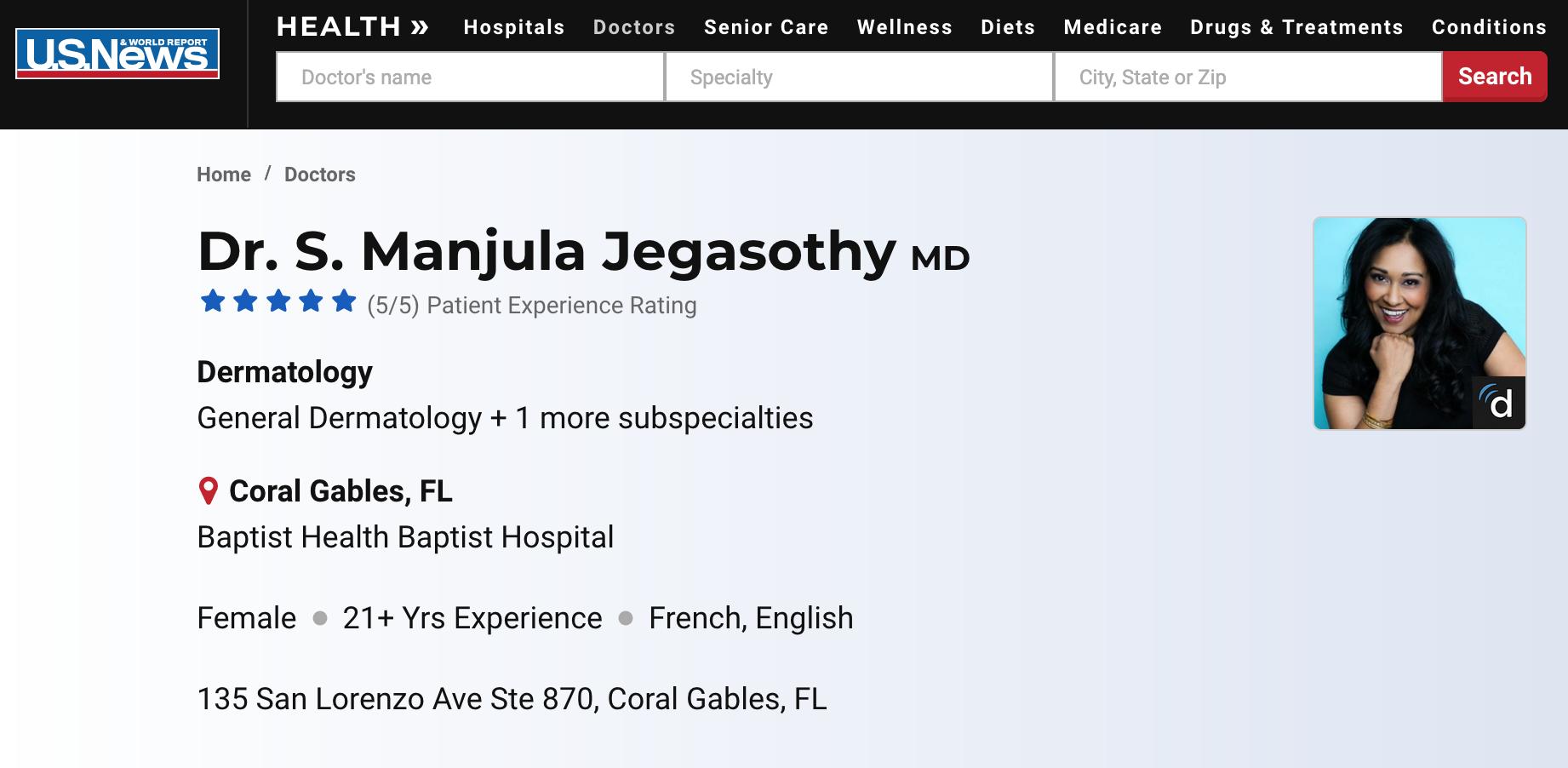 Who is Dr Manjula Jegasothy?